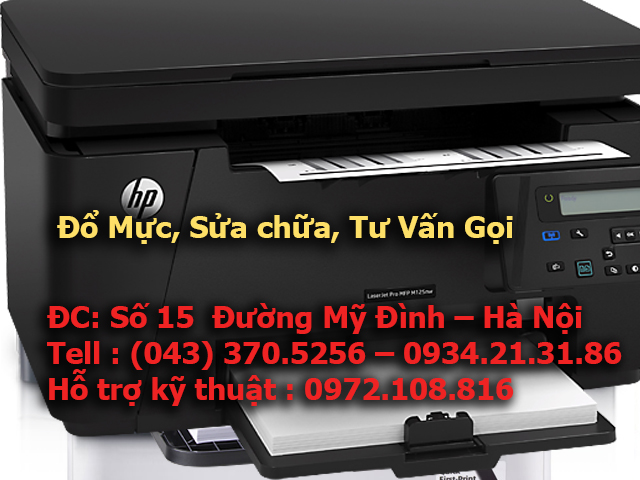Sửa máy in đen trắng HP MFP M125nw in ra bị mờ bản in, bị đen dọc